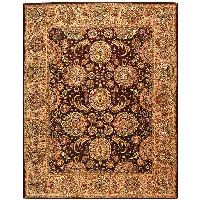 Safavieh Handmade Treasures Burgundy/ Beige Wool and Silk Rug - 10' x 14'