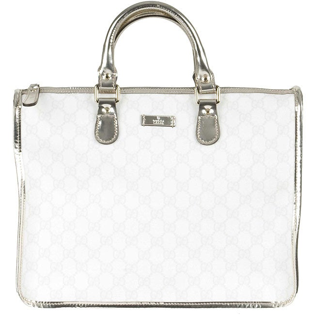 6f4508d8518 Shop Gucci White GG PVC Tote Bag - Ships To Canada - Overstock - 3414738