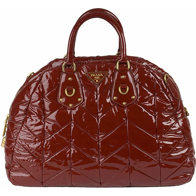 edebbc9b1a14 Shop Prada Quilted Patent Leather Bowler Bag - Free Shipping Today -  Overstock - 3415012