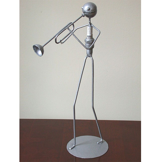 Recycled Metal Trumpet Player Statuette (Ghana)