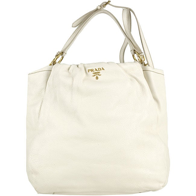 Prada White Pebbled Leather Shopping Bag