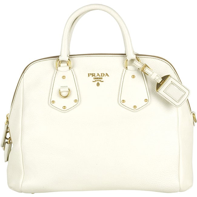 6b538d3206ff4d Shop Prada Vitello Daino White Medium Leather Tote - Free Shipping ...