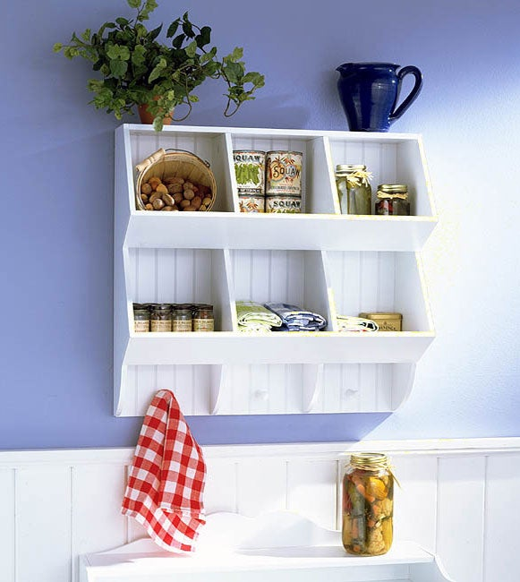 White Kitchen Storage Wall Shelf