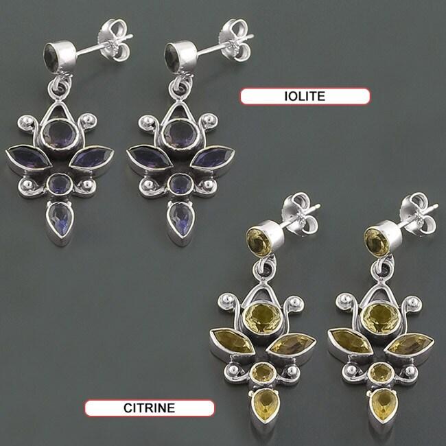Sterling Silver Multi-gemstone Dangle Earrings (India)