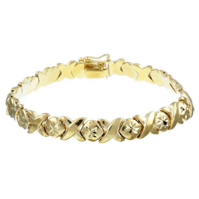 14k Gold Over Silver Hugs And Kisses Bracelet Free