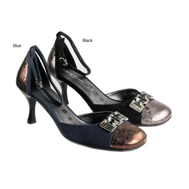 Beston Women's Leather Ankle Strap Pumps