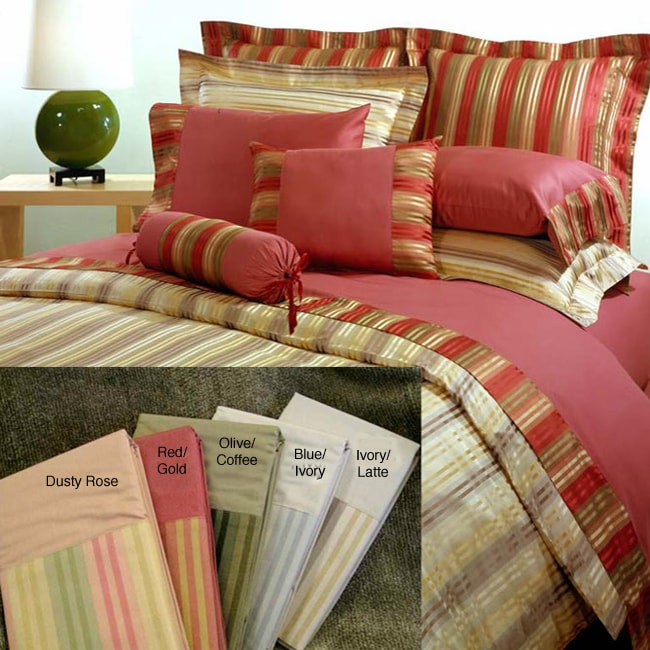 Laurel Stripe King-size 8-piece Comforter Set