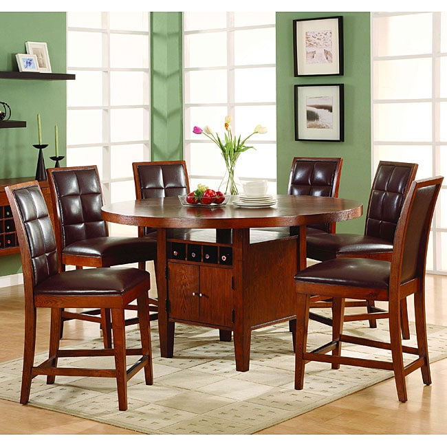 5-piece Counter Dining Set with Wine Storage Base