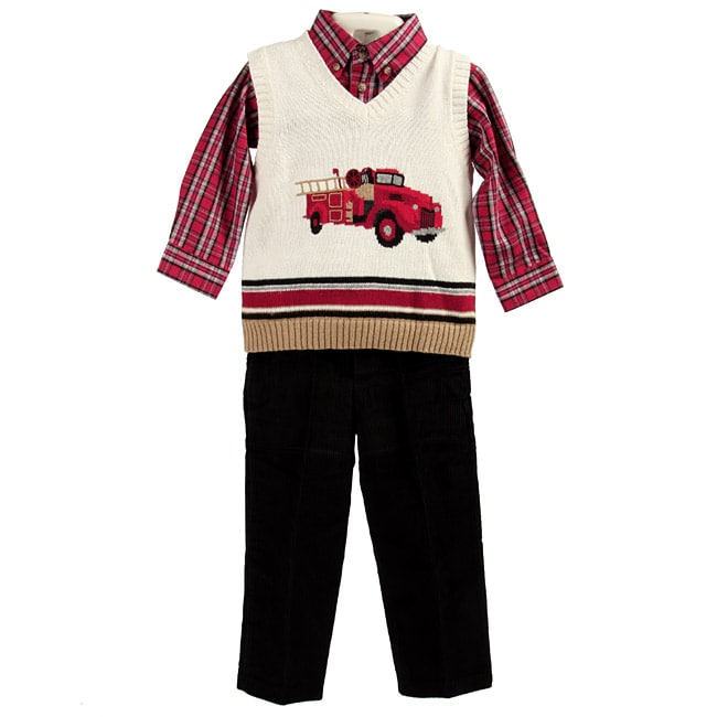 Good Lad Toddler Boy S Firetruck Plaid Outfit Free