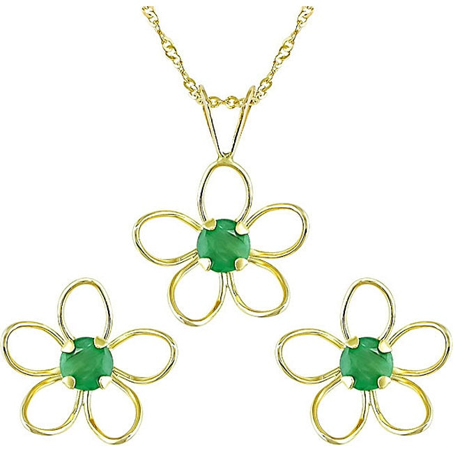 14k Yellow Gold Emerald Earrings and Necklace Set