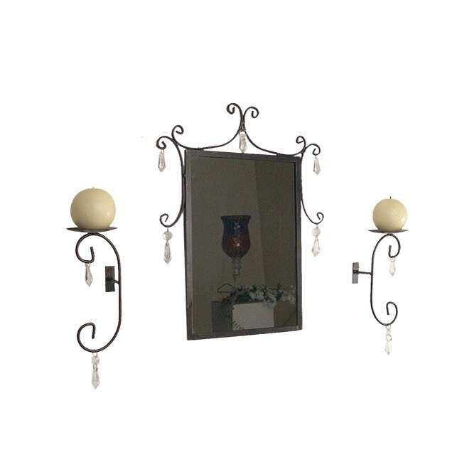 Hanging Crystals Mirror and Sconces