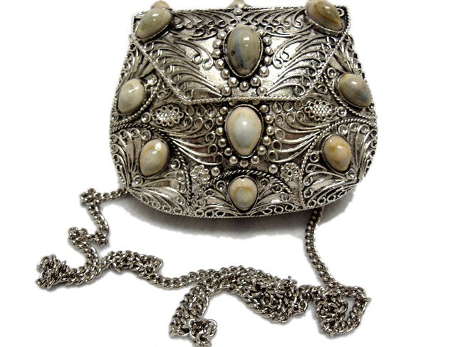 Agate Inlaid Stone Evening Handbag (India)