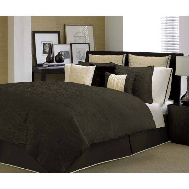 Kensington Chocolate/ Ivory 4-piece Comforter Set