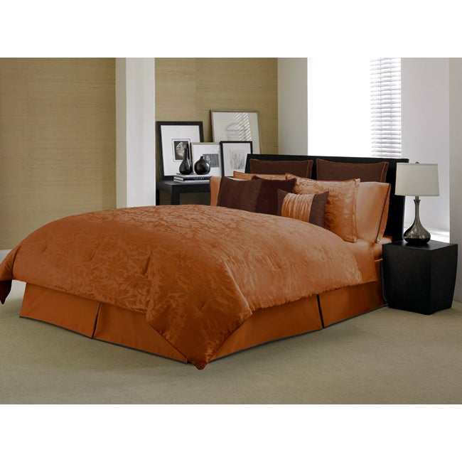 Bedroom Sets For Cheap Burnt Orange Bedroom Accessories Art Themed Bedroom Bedroom Sofa: Kensington Paprika/ Chocolate 4-piece Comforter Set