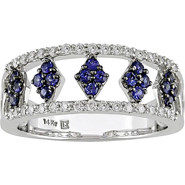 14k Gold Blue Sapphire and 1/4ct TDW Diamond Ring