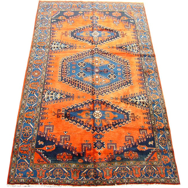 Shop Persian Hamadan Orange Blue Rug 6 7 X 11 5 Free