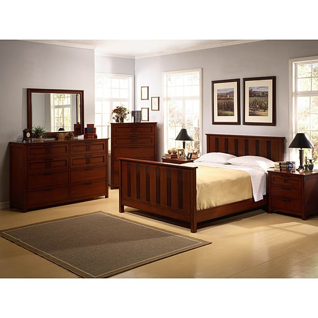 Cherry mission style 6 piece king bedroom set free for Mission style bedroom furniture