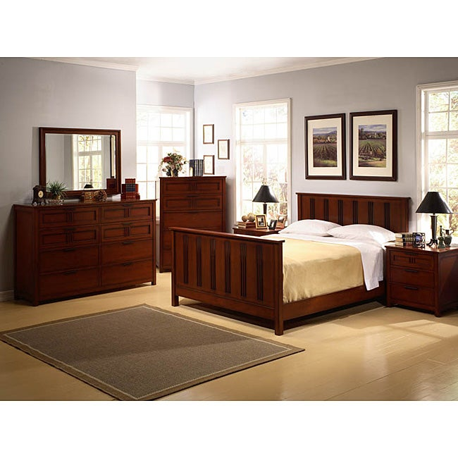 Cherry mission style 6 piece queen bedroom set free shipping today 11516954 for Queen mission style bedroom set