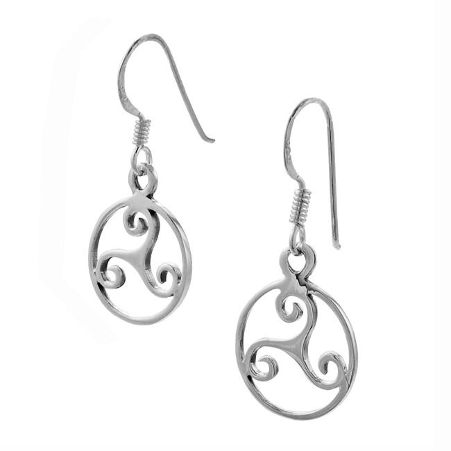 Journee Sterling Silver Celtic Triskele Dangling Earrings