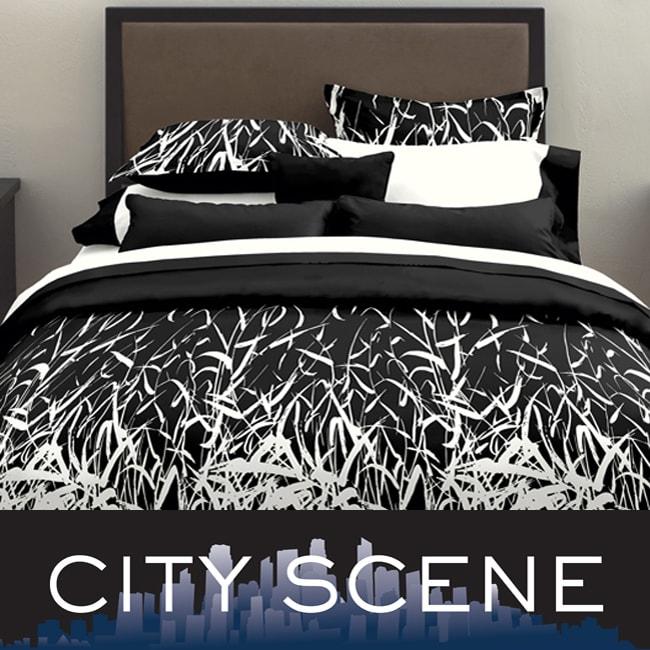 City Scene Bamboo 3-piece Black Duvet Cover Set