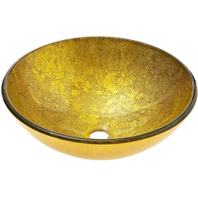 Shop Vigo Gold Tempered Glass Vessel Sink Free Shipping