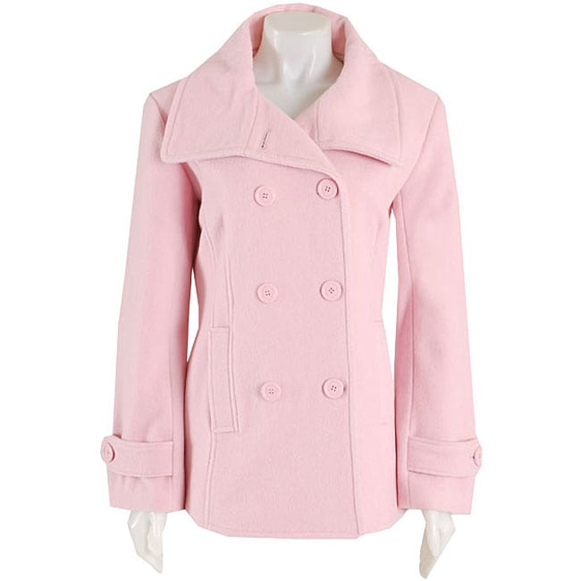 429ef3c813497 Shop Black Rivet Women s Pink Button-front Wool Peacoat - Free Shipping  Today - Overstock - 3443909