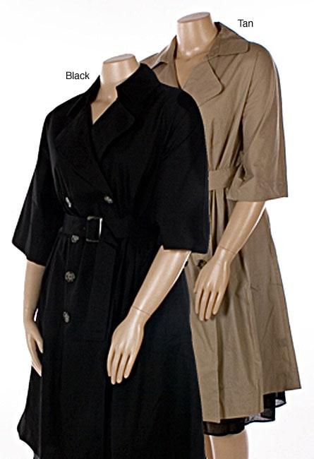 Shop Mlle Gabrielle Women\'s Plus Size Trench Coat Dress - Free ...