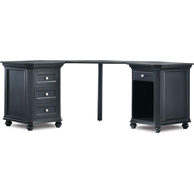 Tribeca Black Dual-cabinet Corner Desk