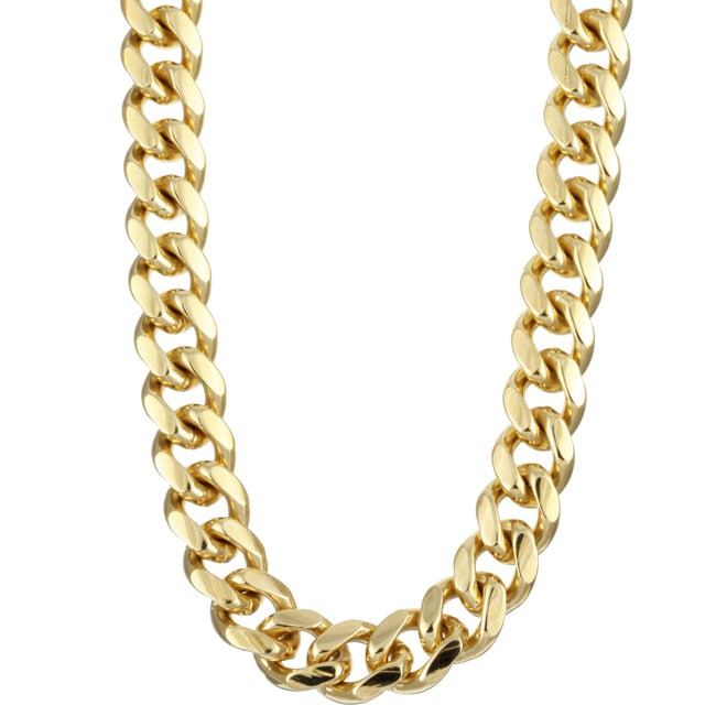 Sterling Essentials 14K Gold over Silver 26-inch Miami Cuban Chain