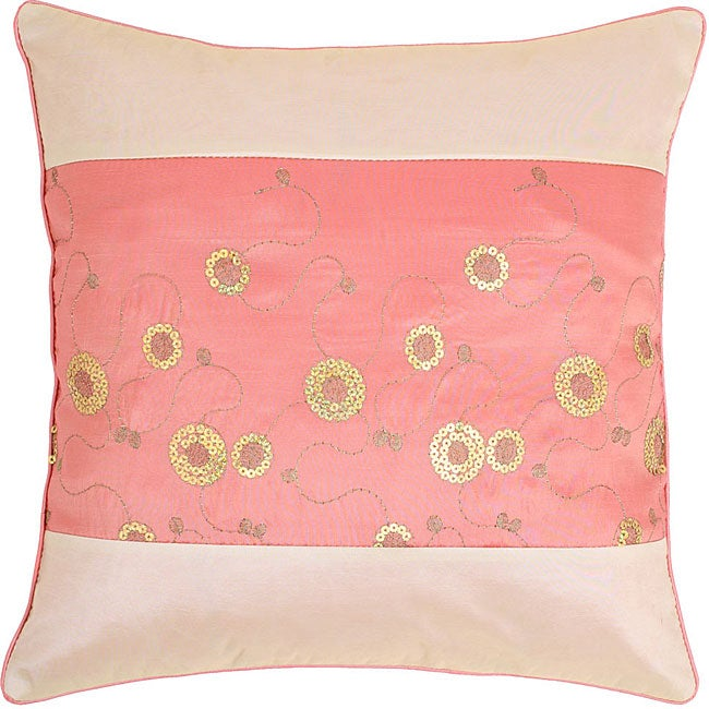 Pink/ Beige Sequined Cushion Cover