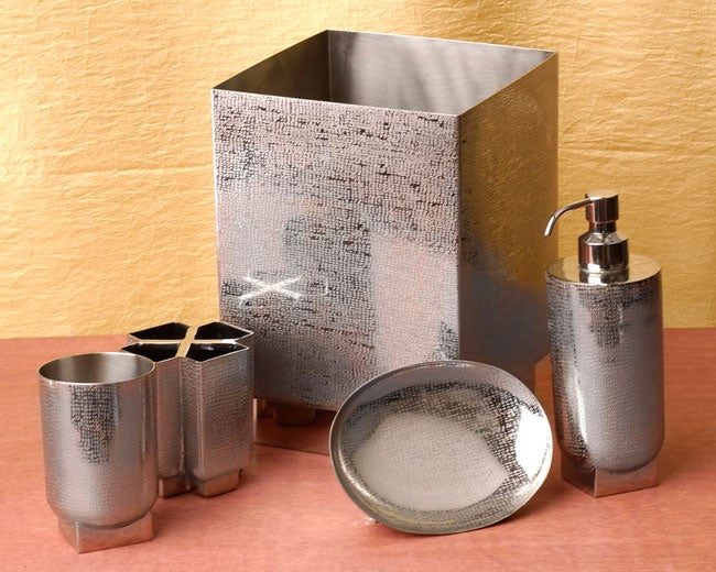 Salsa brushed nickel bathroom accessories set of 5 for Brushed gold bathroom accessories
