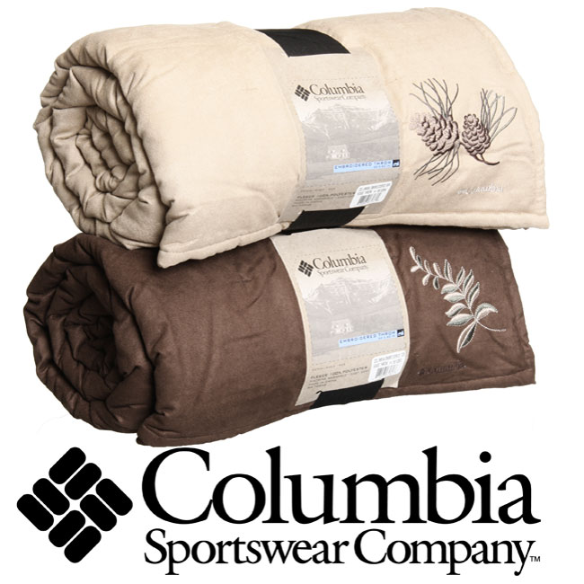 Columbia Embroidered Throw Blanket