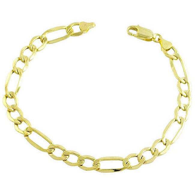 133c86023 Shop Fremada 14k Yellow Gold Figaro Bracelet - On Sale - Free Shipping  Today - Overstock - 3464765