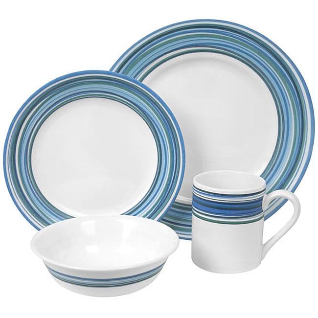 Corelle Impressions Blue Swirls 16 Piece Dinnerware Set