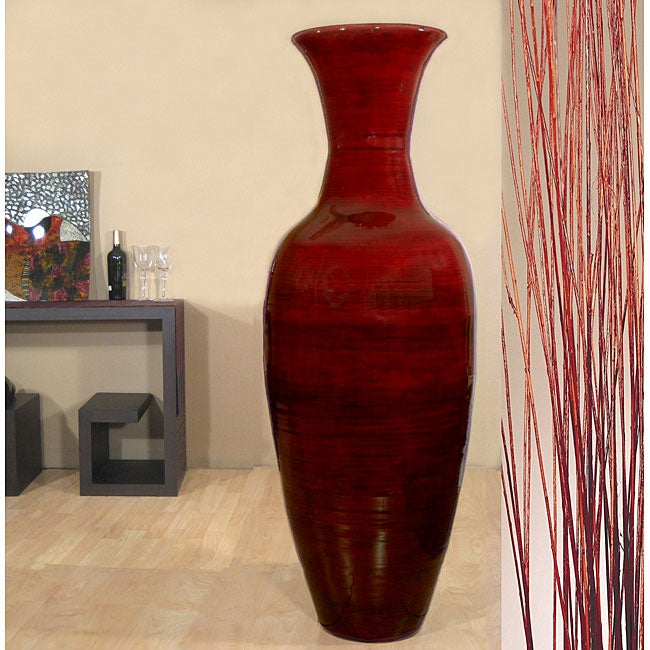 Shop Tall Mahogany 60 Inch Bamboo Vase And Branches Free Shipping