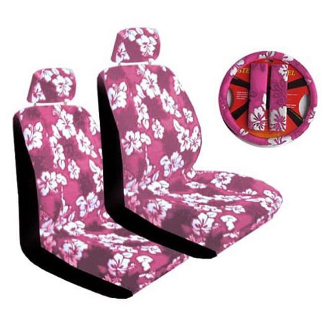 Seven-piece Pink Hibiscus Car Accessories Set