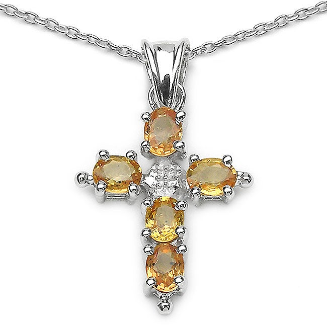Malaika Sterling Silver Yellow Sapphire Cross Necklace