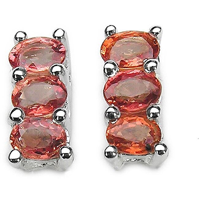 Malaika Sterling Silver Orange Sapphire Earrings