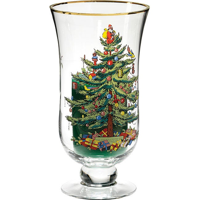Spode Christmas Tree Candle Holder: Spode Christmas Tree Hurricane Glass With Candle