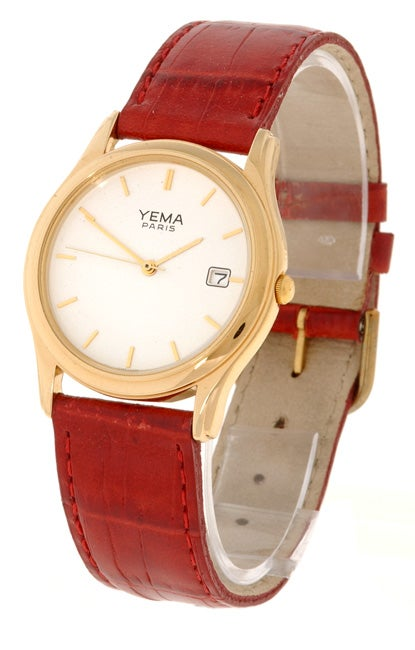 e14f43d18 Shop Yema by Seiko of France Men's White Dial Red Leather Strap Watc - Free  Shipping Today - Overstock - 1612549