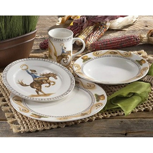 American Atelier Cowboy 16 Piece Dinnerware Set Free Shipping On Orders Over 45 3473436