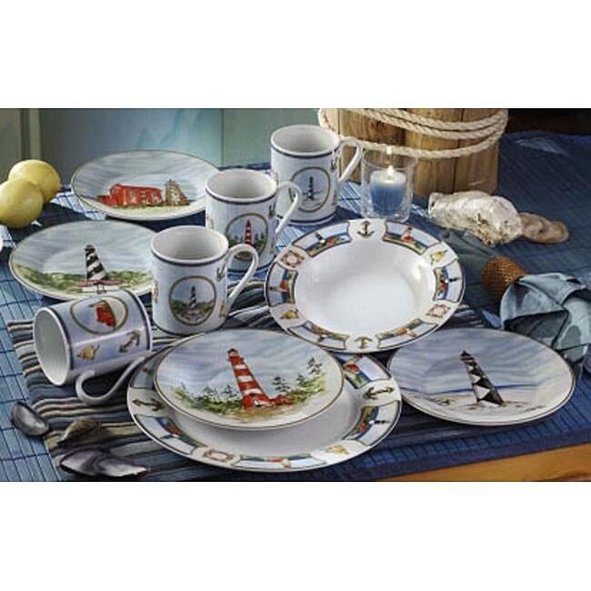 American Atelier 'Anchor's Away' 16-piece Dinnerware Set