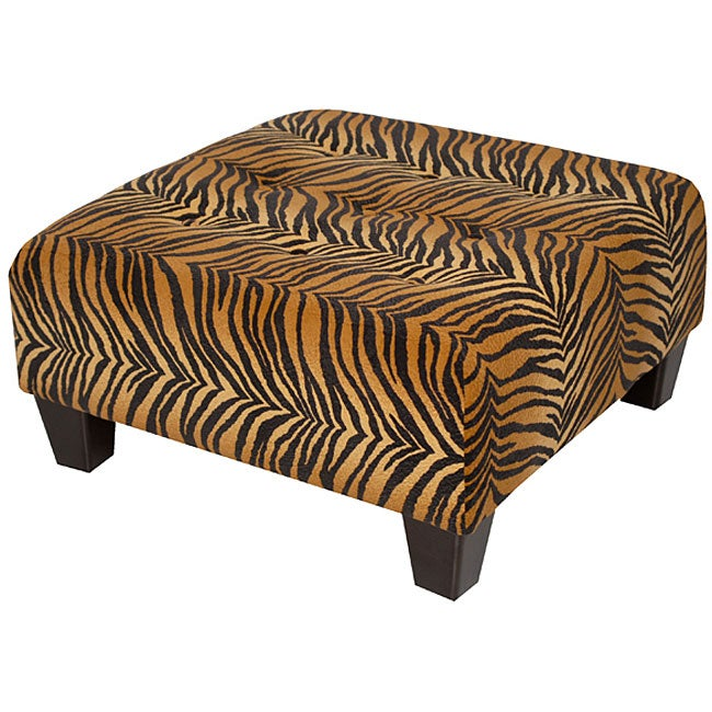 Bengal Tiger Microfibre Tufted Cocktail Ottoman Free