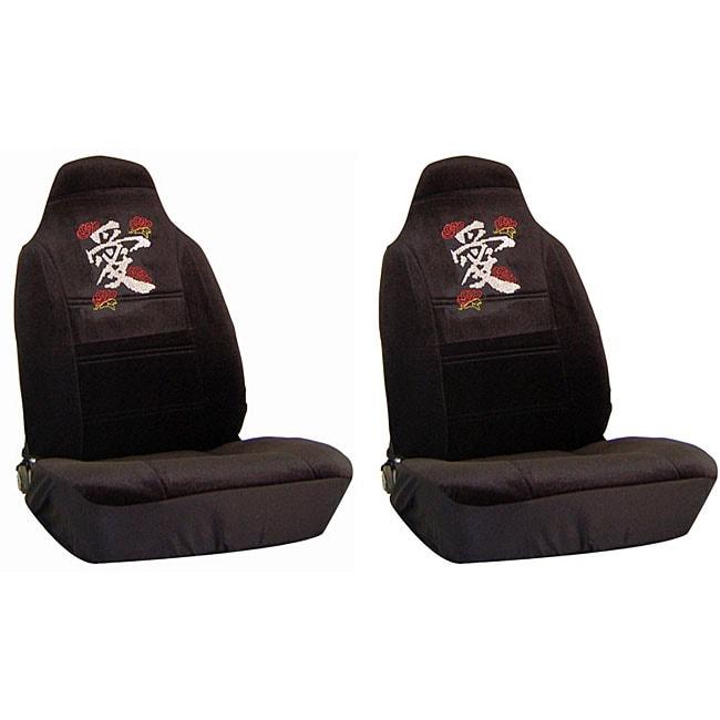 Love Symbol Rosebud Rhinestone Bucket Seat Covers Set Of