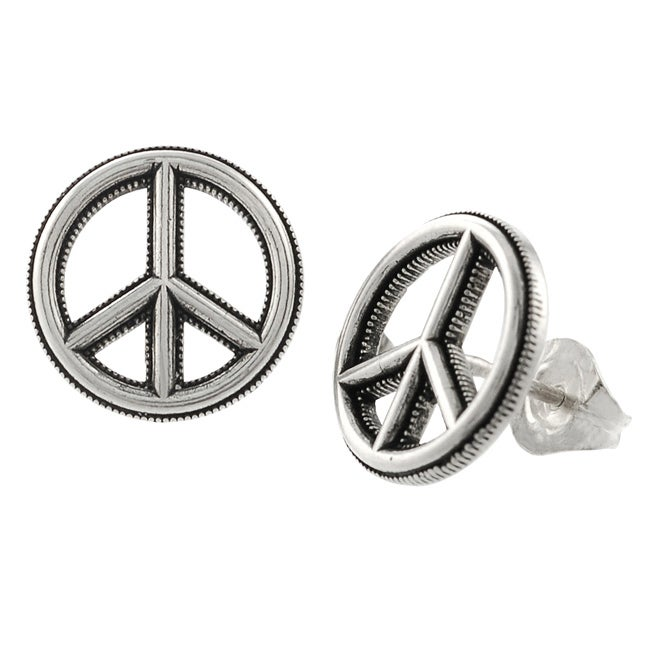 Journee Collection Sterling Silver Peace Sign Earrings