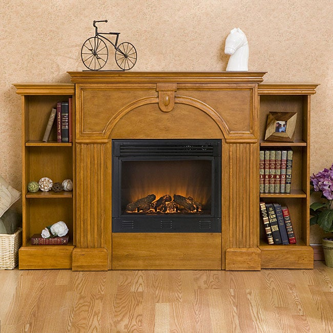 luxemburg oak electric fireplace wtih bookcases and remote free shipping today. Black Bedroom Furniture Sets. Home Design Ideas