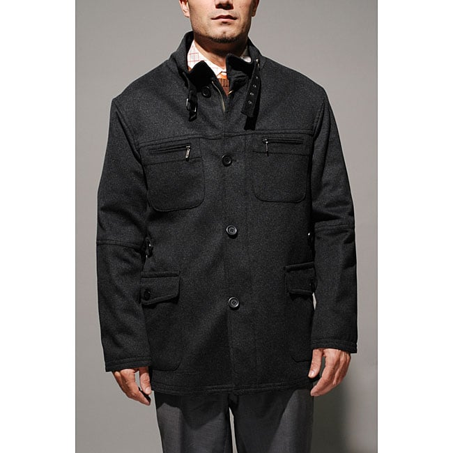 Wool and Cashmere Charcoal Beltless Coat