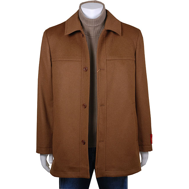 Men's Single-breasted Wool/ Cashmere Peacoat