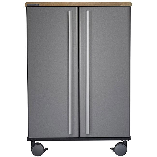 Shop Simple Living Rolling Galvin Microwave Cart: Shop Butcher Top Two-door Rolling Cart