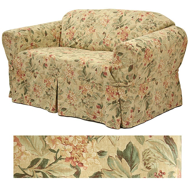 Ruffled Sofa Slipcover Floral Print Loveseat Slipcover - Free Shipping Today ...